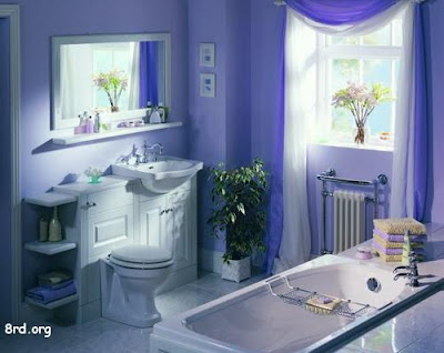 Blue ,Red ,Green And White Color In Bathroom Interior Design