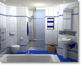 Modern Bathroom Designed in Blue and White