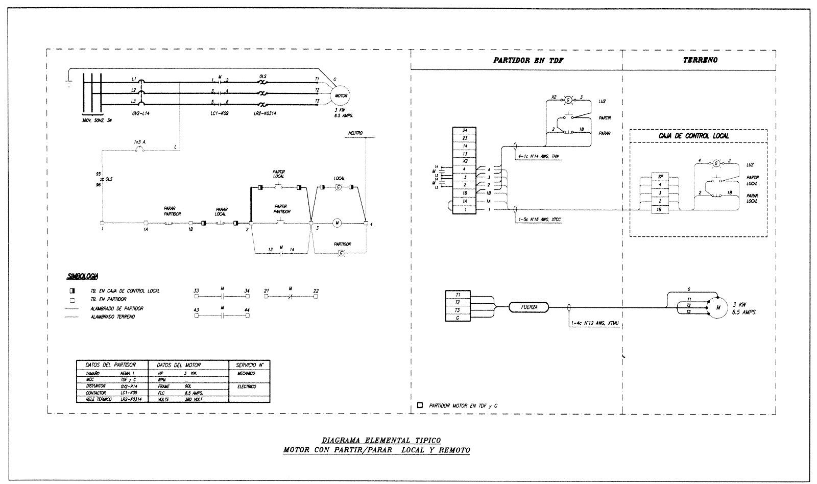 Circuito Unilineal : Proyectos de ingenieria electrica y montaje: control de motor