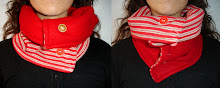 Cuello rojo a rayas y rojo doblefaz