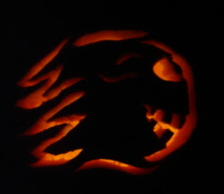 flaming comet head pumpkin carving jack o lantern