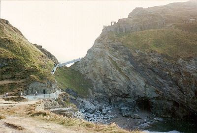 Tintagel, with Merlin's Cave visible, below right