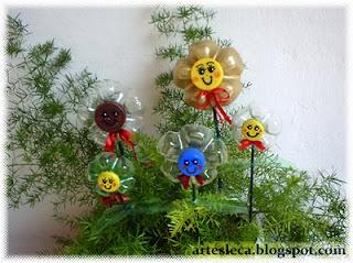 flores garrafa Pet