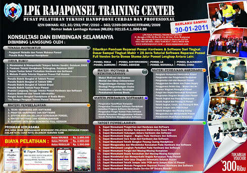 BROSUR PELATIHAN TEKNISI HANDPHONE HARDWARE & SOFTWARE LPK RAJA PONSEL TRAINING CENTER