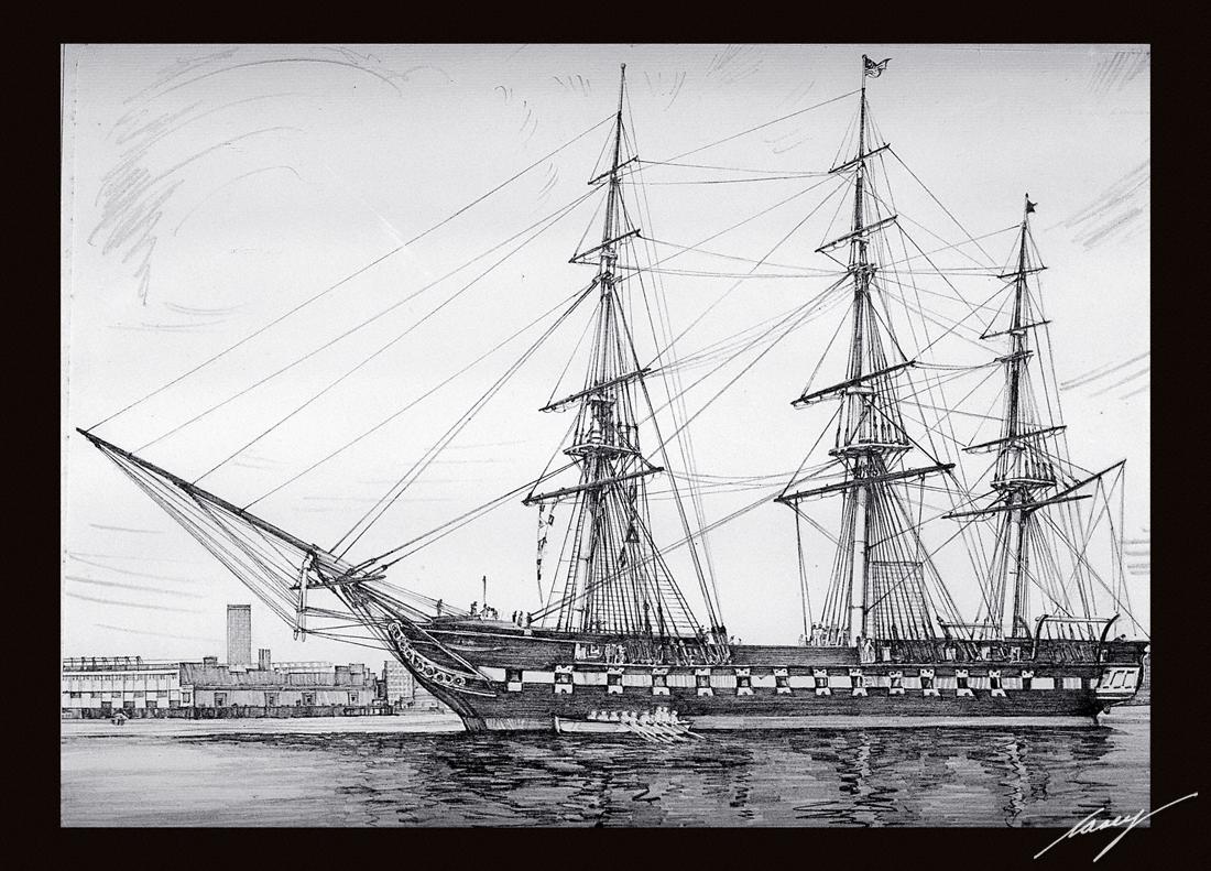 Water Pencil Drawing Ship