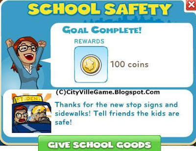 Cityville zynga social game mission school safety finish