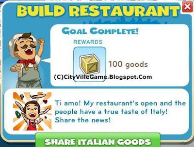 Zynga's social game cityville picture: italian restaurant