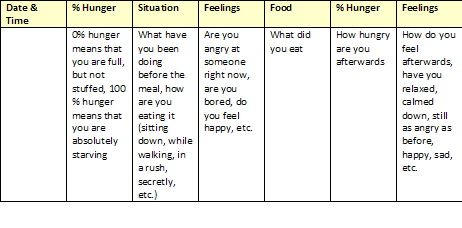 battling my eating disorder the food diary