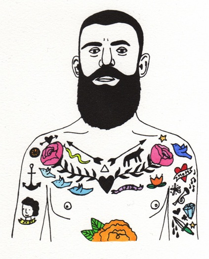 I love this guy's weird tattoos I had a lot of fun thinking up goofy things