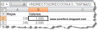 La función DIRECCION en Excel.