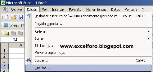 Modificar vínculos en Excel.   EXCEL FORO: EJERCICIOS, EJEMPLOS ...