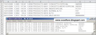 Tratamiento ficheros de texto con Excel.