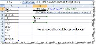 La función de Excel BDCONTARA.