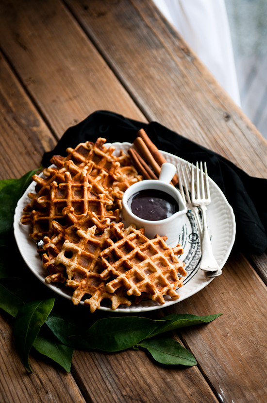 ... : Orange cinnamon Belgian waffles with dark chocolate hot fudge