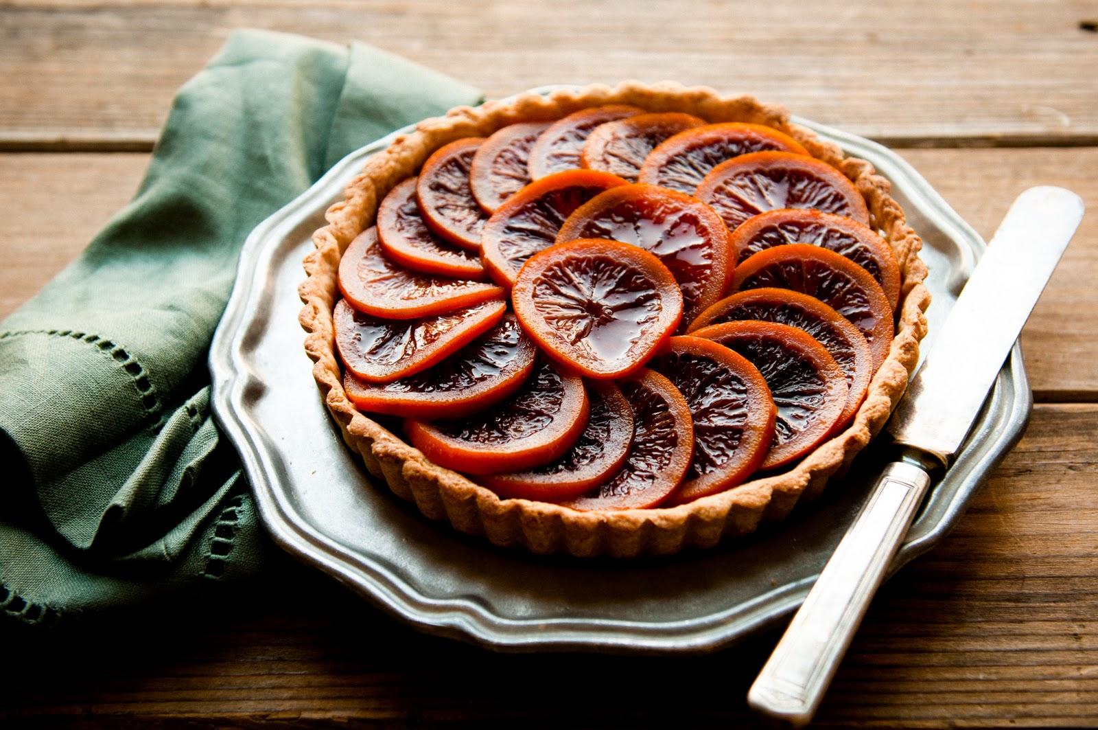 ... Breakfast: Blood orange honey-glazed five spice tart with almond cream