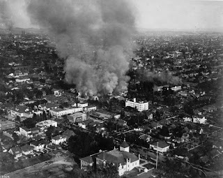 Shrine Auditorium Fire in Los Angeles, January 11, 1920. Click to enlarge...