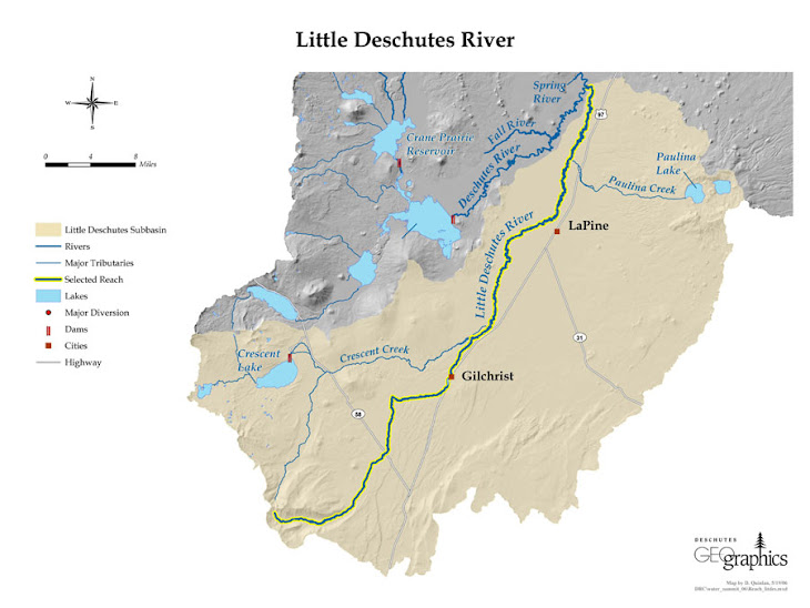 Map of The Little Deshutes River: