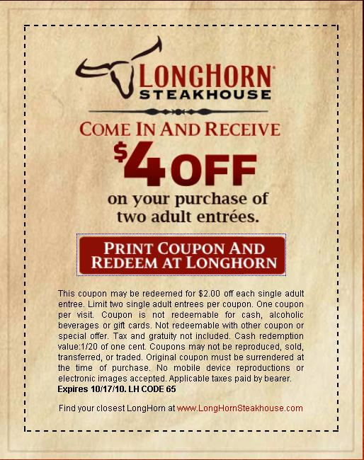 graphic relating to Longhorn Coupons Printable known as Longhorn discount codes