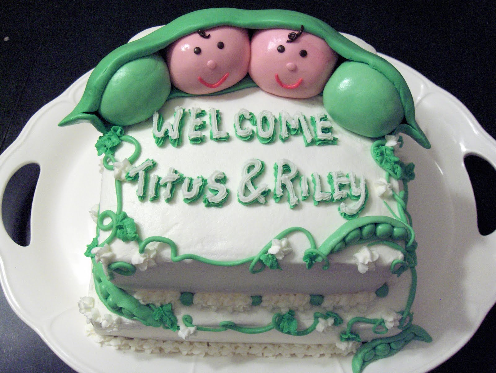 "Cat s Cake Creations ""Two Peas in a Pod"" Twins Baby Shower Cake"