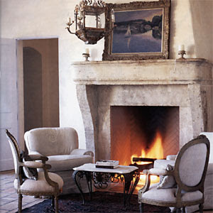 Cote de texas a country french house authentic elements for French country stone fireplace