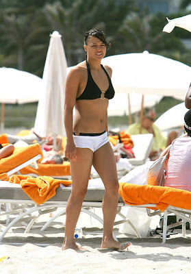Michelle Rodriguez's beats the heat in boyshorts which actually accentuate her athletic physique