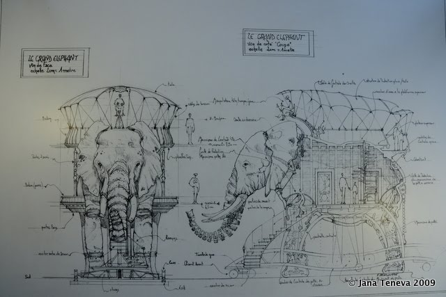 Elephant drawing from les Machines de l'Ile de Nantes
