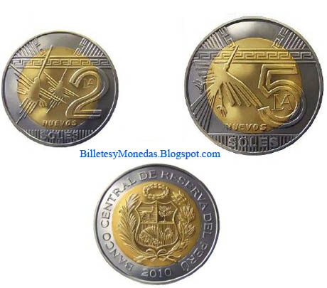 Peru monedas bimetálicas 2 y 5 Soles