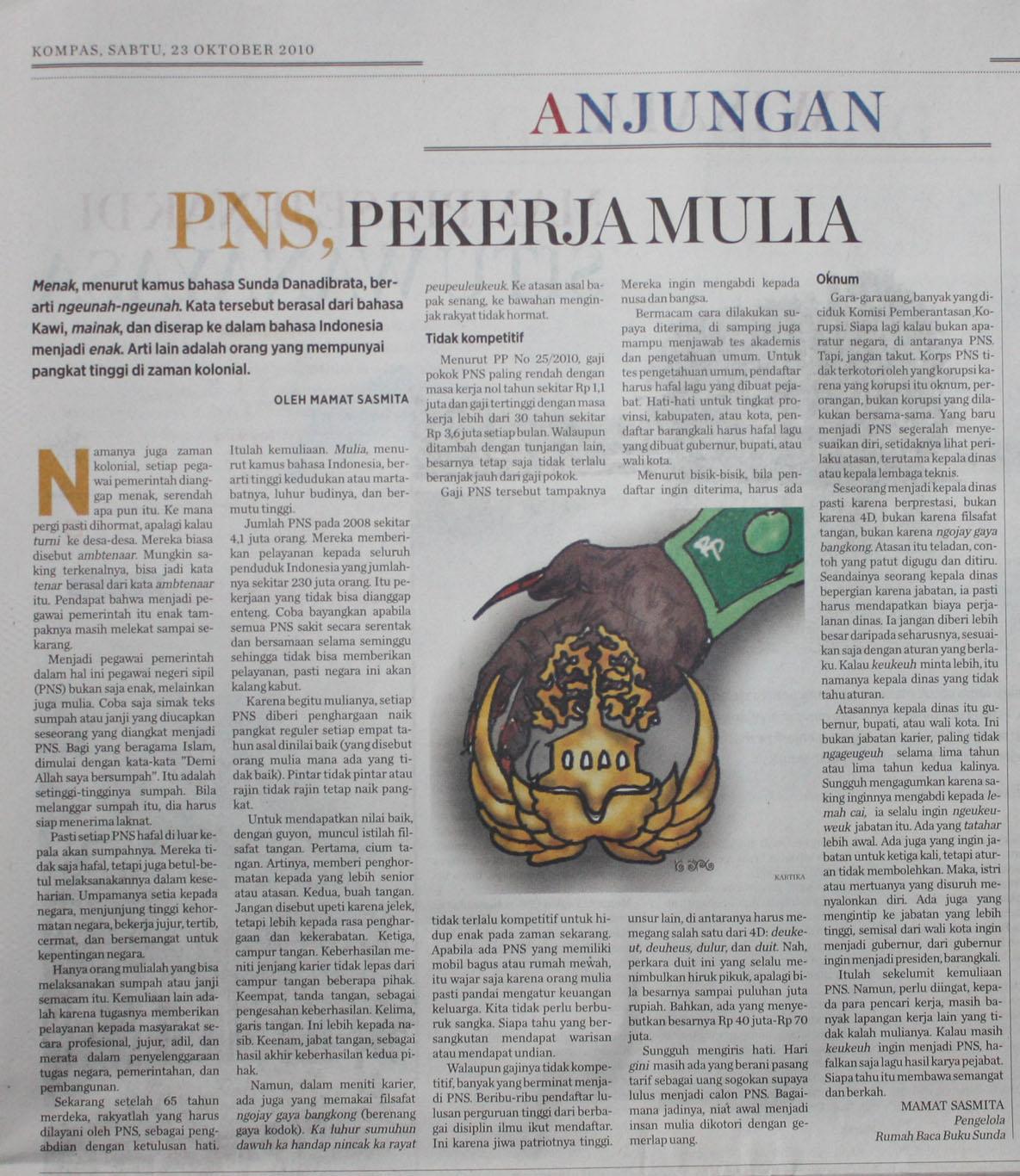 Rumah Baca Buku Sunda Pns Pekerja Mulia