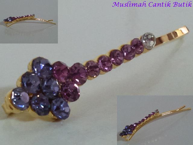 Jepit rambut eksklusif warna emas dgn ornamen kristal gradasi ungu ...
