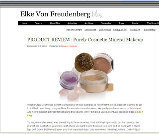Purely Cosmetics review by Elke Von Freudenberg