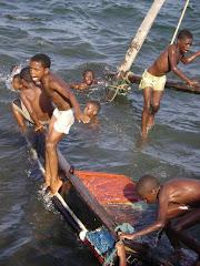 boys playing on lamu seafront