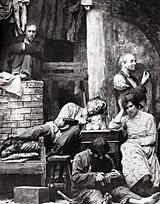 """Ralé de M. Górki. Encenação de Constantin Stanislavski, exemplo de """"composição naturalista."""