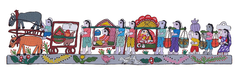 Mithila Art(Groom returning with his bride after marraige ceremony)