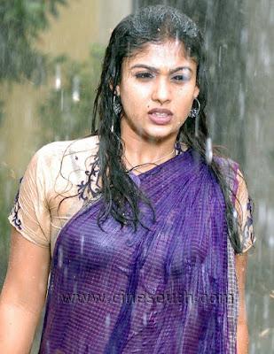 south india mallu actress hot sexy Nayanthara wet saree and showing bra bikini image gallery