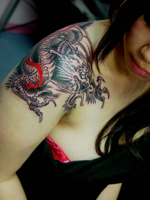 Japanese Arm Women Tattoo