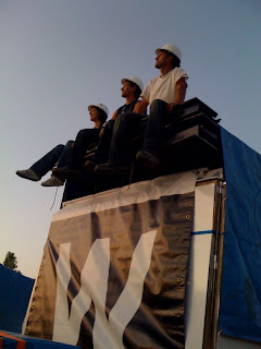 Decathletes on top of the B&W House