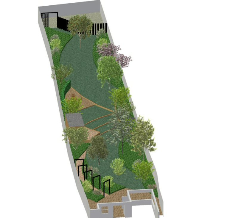 designs for long narrow gardens
