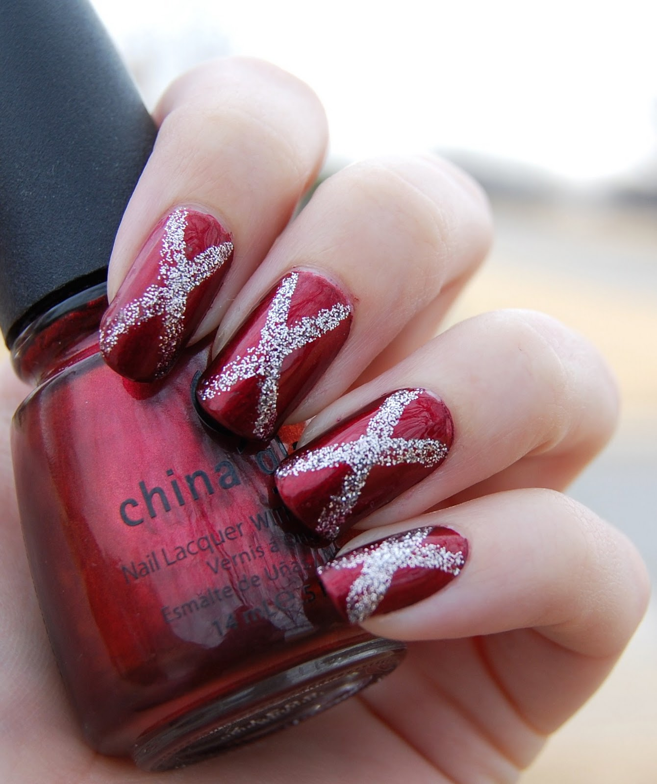 Lacquer Love: Happy Holidays! (Red and Silver Nail Art)
