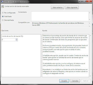 Acelerar ancho de banda en Windows 7