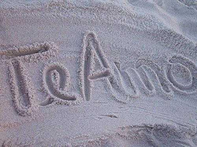 te amo na areia