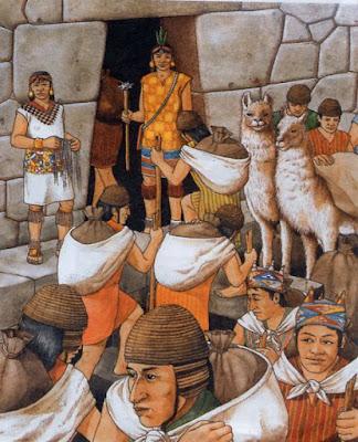 """Dibujo de """"indios"""" quechuas del Imperio de los Incas."""