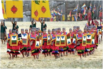 Foto de aucarunas o soldados incas en la fiesta del Inti Raymi, en Cuzco, Per?