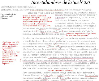 Captura de pantalla modificada con comentarios (paint) del artículo de opinión de Álvarez Monzoncillo publicado en el País