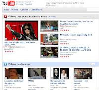 Captura de pantalla de Youtube en donde se ven los videos sobre la muerte de Jacko y Fawcett