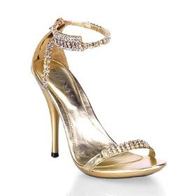 Wedding Shoes Crystal and Gold colors.