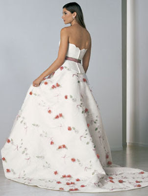 Ornaments Flowers and Belt in the Wedding Gown - Wedding Dress