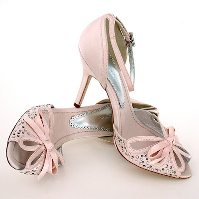 Pink satin wedding shoes.