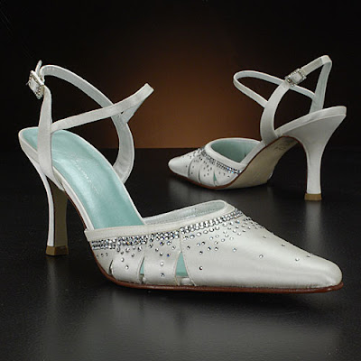Wedding shoes with crystal-made accessories.