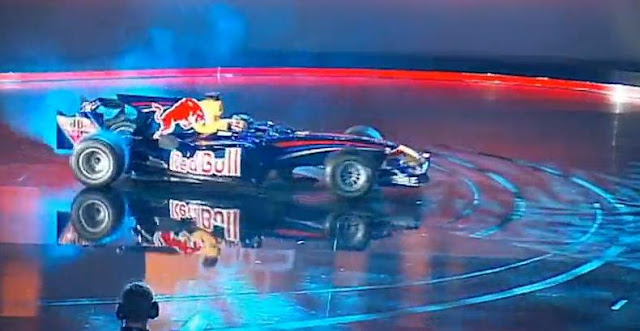 F1 Sebastian Vettel Doing Donuts On Live TV Stage