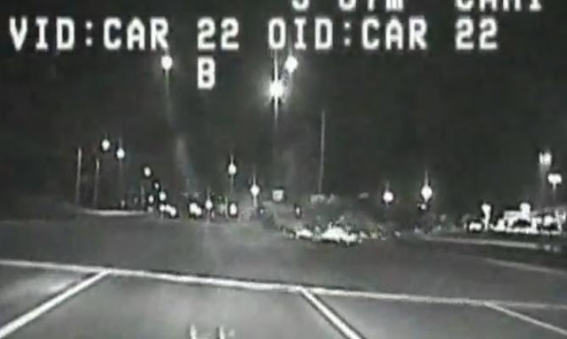 94 MPH Speeding Cop Cruiser Crashes Into A Turning Car